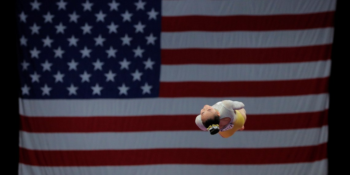 A gymnast competes on vault at the U.S. Gymnastics Championships in Boston, Massachusetts, U.S., August 19, 2018. REUTERS/Brian Snyder