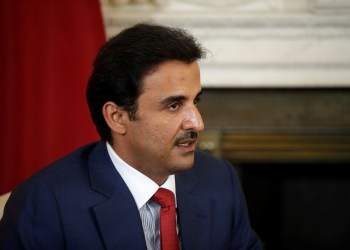FILE PHOTO: The Emir of Qatar Sheikh Tamim bin Hamad al-Thani speaks to Britain's Prime Minister Theresa May and at the start of their meeting at 10 Downing Street, London, Britain July 24, 2018. Matt Dunham/Pool via REUTERS