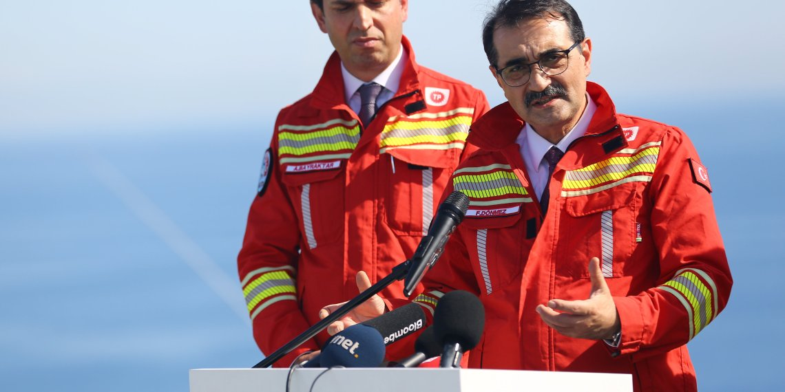 FILE PHOTO: Turkish Energy Minister Fatih Donmez speaks to media on board the drilling vessel Fatih off the Mediterranean resort city of Antalya, Turkey October 30, 2018. REUTERS/Kaan Soyturk