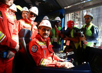 FILE PHOTO: Turkish Energy Minister Fatih Donmez is seen on board the drilling vessel Fatih off the Mediterranean resort city of Antalya, Turkey October 30, 2018. REUTERS/Kaan Soyturk
