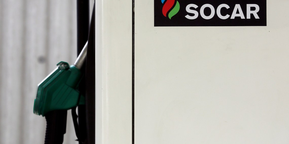 FILE PHOTO: The logo of SOCAR Energy Switzerland is seen on a filling station in Bern, Switzerland May 9, 2016. REUTERS/Ruben Sprich