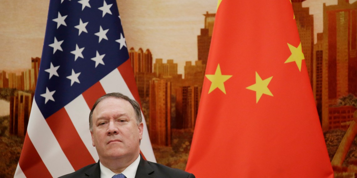 FILE PHOTO: U.S. Secretary of State Mike Pompeo attends a joint news conference with Chinese Foreign Minister Wang Yi (not pictured) at the Great Hall of the People in Beijing, China June 14, 2018. REUTERS/Jason Lee
