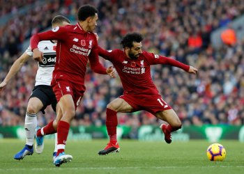 Soccer Football - Premier League - Liverpool v Fulham - Anfield, Liverpool, Britain - November 11, 2018 Liverpool's Mohamed Salah in action REUTERS/Russell Cheyne