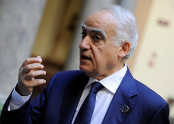 U.N. Envoy to Libya Ghassan Salame speaks during an interview with Reuters ahead of the first day of the international conference on Libya, in Palermo, Italy, November 12, 2018. REUTERS/Guglielmo Mangiapane