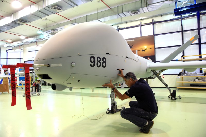 FILE PHOTO: An employee checks an Elbit Systems Ltd. Hermes 900 unmanned aerial vehicle (UAV) at the company's drone factory in Rehovot, Israel, June 28, 2018. REUTERS/Orel Cohen