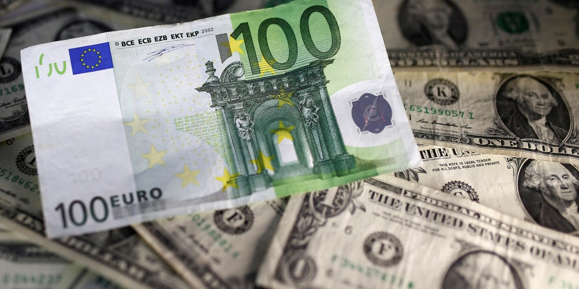 FILE PHOTO: U.S. dollar and Euro notes are seen in this November 7, 2016 picture illustration. REUTERS/Dado Ruvic/Illustration