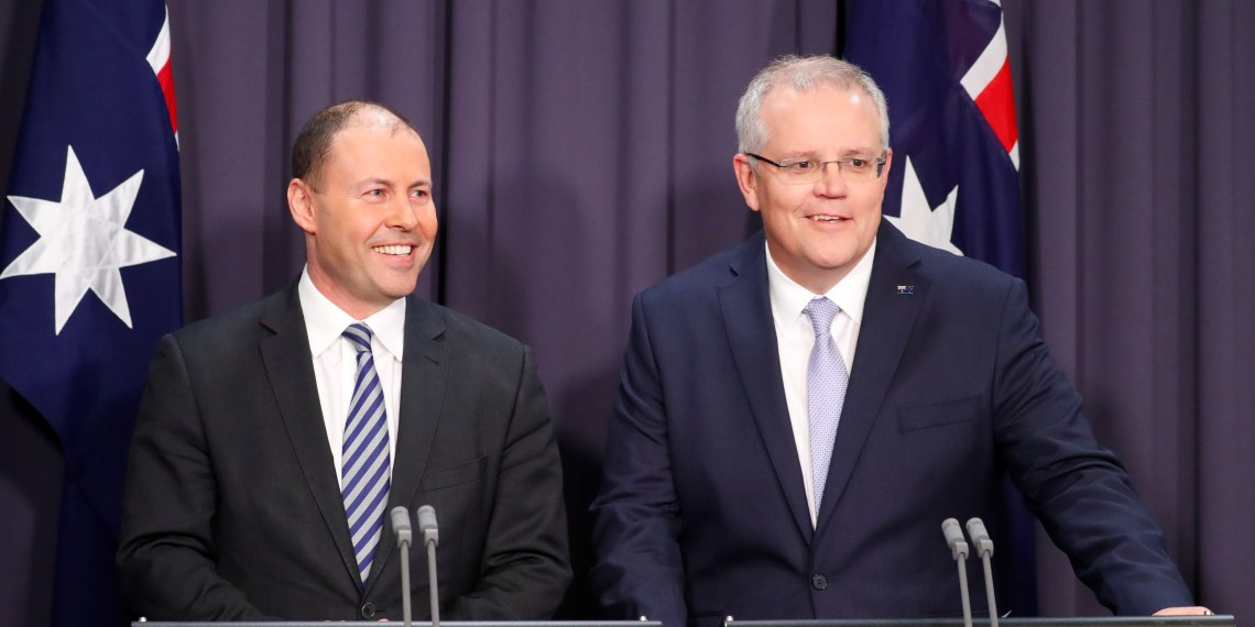 FILE PHOTO: The new Australian Prime Minister Scott Morrison and his deputy Josh Frydenberg attend a news conference in Canberra, Australia August 24, 2018.   REUTERS/David Gray