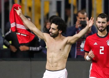 Soccer Football - African Nations Cup Qualifier - Egypt v Tunisia - Borg El Arab Stadium, Alexandria, Egypt - November 16, 2018 Egypt's Mohamed Salah celebrates scoring their third goal REUTERS/Amr Abdallah Dalsh