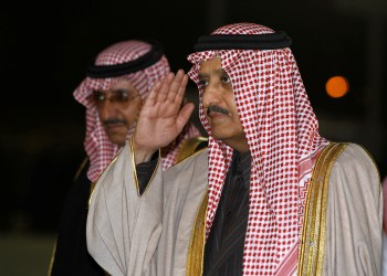 FILE PHOTO: Saudi Prince Ahmed bin Abdul-Aziz (R), brother of Saudi King Abdullah, and Saudi Prince Mohammed bin Nayef are greeted upon their arrival at the graduation ceremony of police cadets at the Public Security Training City in Riyadh, February 28, 2012. REUTERS/Fahad Shadeed
