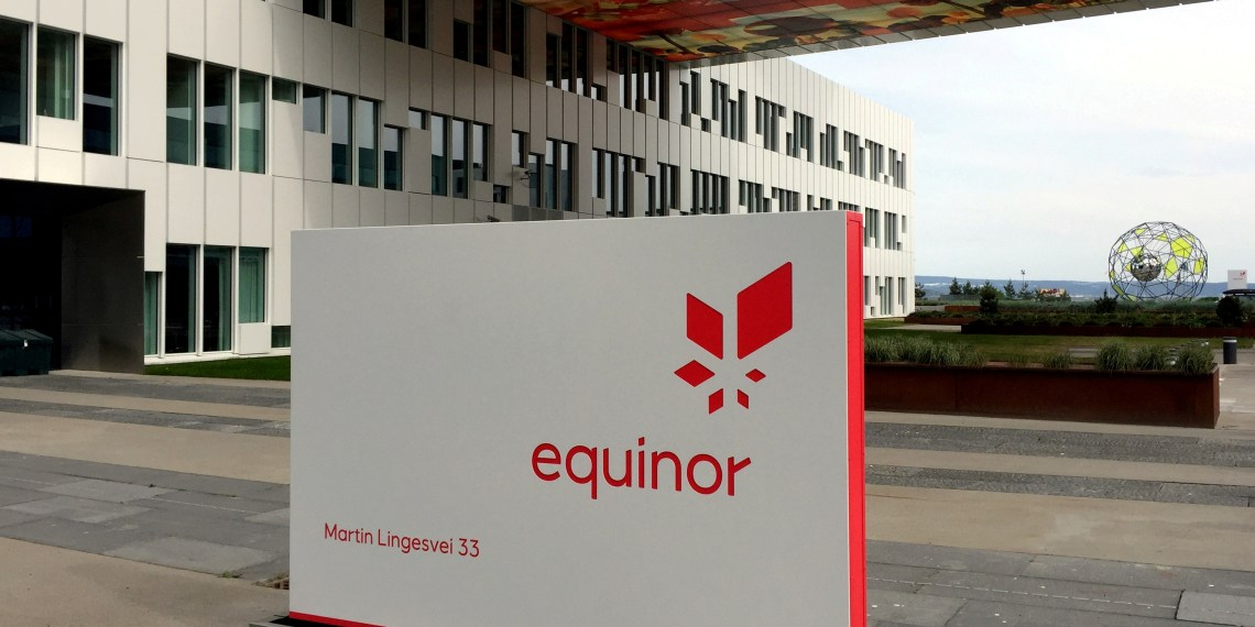 FILE PHOTO: A logo of Equinor, formerly known as Statoil, is seen at the company's headquarters in Fornebu, Norway May 21, 2018. REUTERS/Nerijus Adomaitis/File Photo