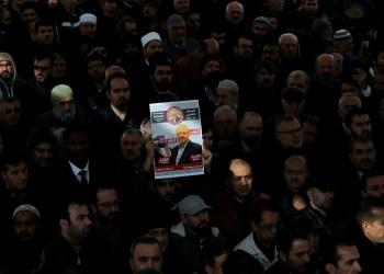 FILE PHOTO: People attend a symbolic funeral prayer for Saudi journalist Jamal Khashoggi at the courtyard of Fatih mosque in Istanbul, Turkey November 16, 2018. REUTERS/Huseyin Aldemir