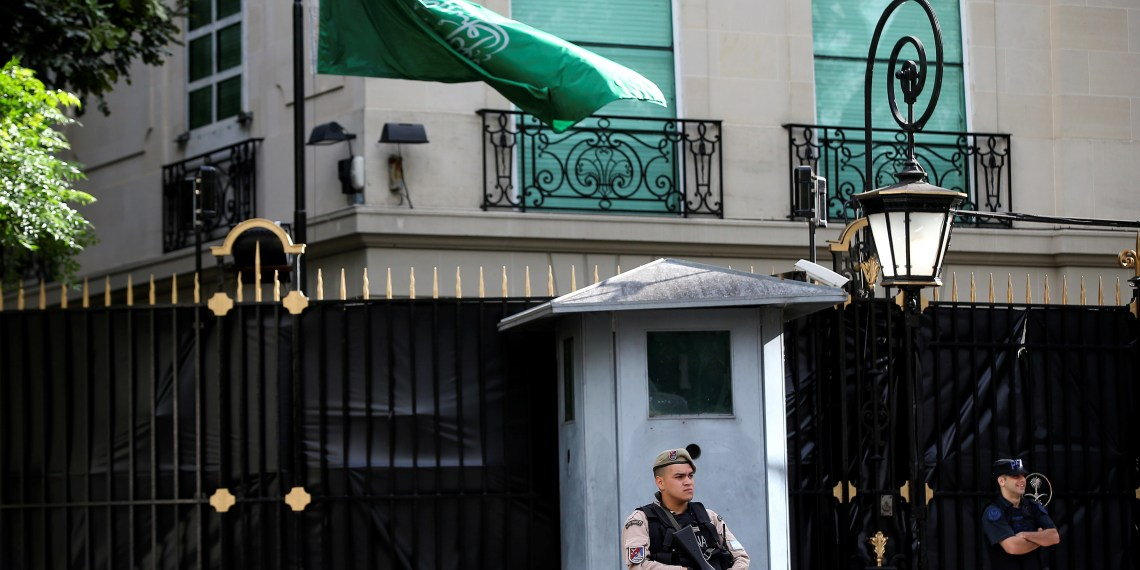 Officers of the Prefectura Naval (Coast Guard) secure the Saudi Arabian embassy in Buenos Aires, Argentina, November 28, 2018. REUTERS/Agustin Marcarian