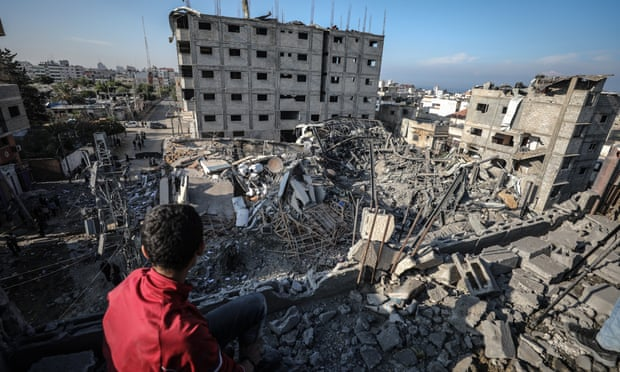 The remains of the Hamas-run al-Aqsa television station, which was bombed by Israel. Photograph: Anadolu Agency/Getty Images
