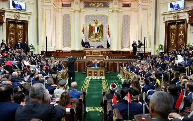 An Egyptian lawyer says he and others have filed a court case to force the parliament to start a debate on amending a constitutional clause that bars President El-Sisi from running for a third term in 2022. (AFP)