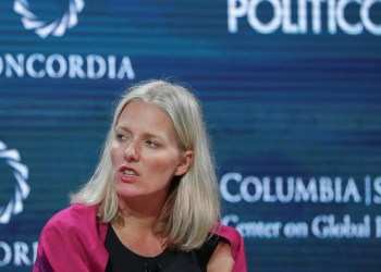 FILE PHOTO: Catherine McKenna, Minister of Environment and Climate Change in Canada, answers a question during the Concordia Summit in Manhattan, New York, U.S., September 19, 2017. REUTERS/Jeenah Moon