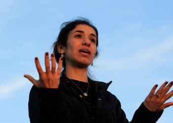 Nobel Peace Prize laureate, Yazidi activist Nadia Murad gestures while talking to the people during her visit to Sinjar, Iraq December 14, 2018. REUTERS/Ari Jalal