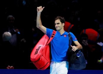 FILE PHOTO - Tennis - ATP Finals - The O2, London, Britain - November 17, 2018   Switzerland's Roger Federer getsures after losing his semi final match against Germany's Alexander Zverev   Action Images via Reuters/Andrew Couldridge
