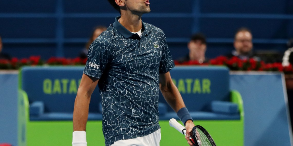 Tennis - ATP - Qatar Open - Khalifa International Tennis and Squash Complex, Doha, Qatar - January 4, 2019 Serbia's Novak Djokovic reacts during his semi final match against Spain's Roberto Bautista Agut REUTERS/Ibraheem Al Omari