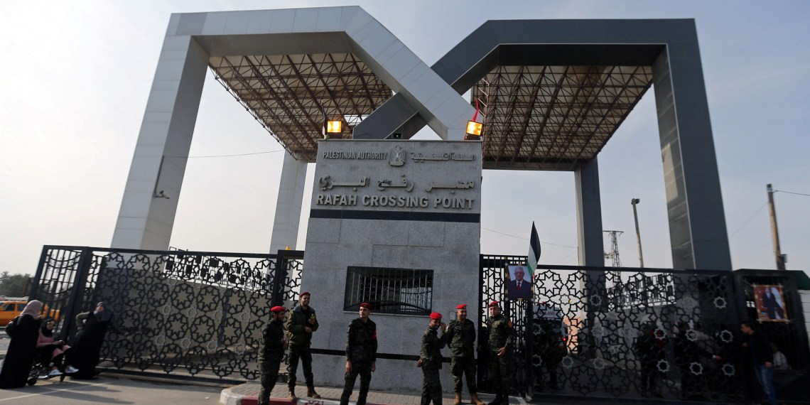 FILE PHOTO: The gate of Rafah border crossing is seen after it was opened under control of the Western-backed Palestinian Authority for the first time since 2007, in Rafah, in the southern Gaza Strip November 18, 2017. REUTERS/Ibraheem Abu Mustafa