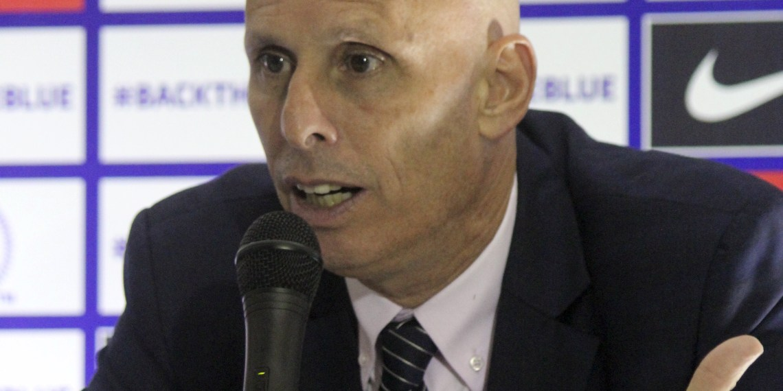 Indian coach Stephen Constantine talks to reporters after their World Cup qualifying soccer match against Guam in Bengaluru November 12, 2015. REUTERS/Robin Paxton