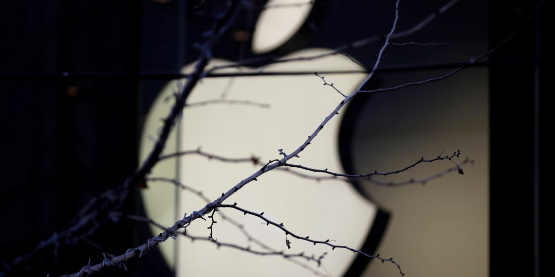 FILE PHOTO: An Apple company logo is seen behind tree branches outside an Apple store in Beijing, China December 14, 2018. REUTERS/Jason Lee