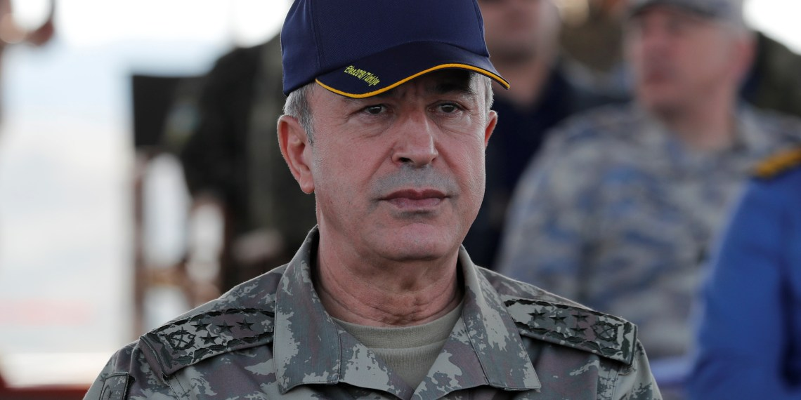 FILE PHOTO: Turkey's Chief of the General Staff Hulusi Akar is seen during the EFES-2018 Military Exercise near the Aegean port city of Izmir, Turkey May 10, 2018. REUTERS/Osman Orsal