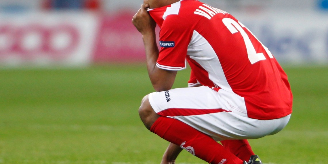 FILE PHOTO:  William Vainqueur of Standard Liege reacts after an Europa League Group B soccer match against Vorskla Poltava at the Maurice Dufrasne stadium in Liege  October 20, 2011.