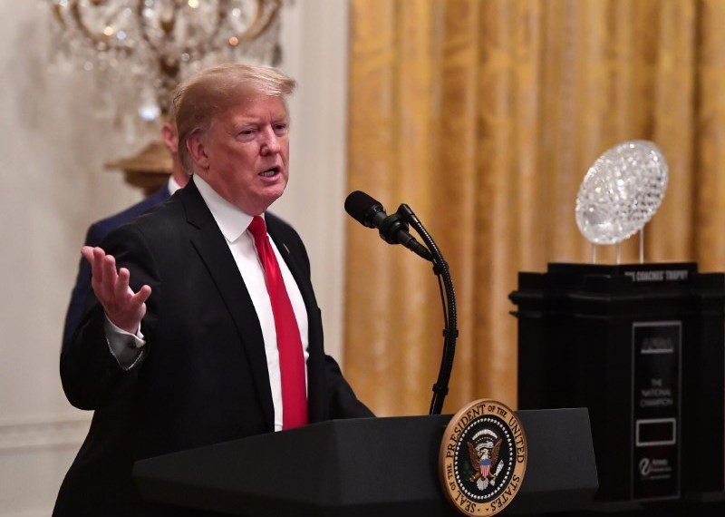FILE PHOTO: Jan 14, 2019; Washington, DC, USA; President Donald Trump speaks at a ceremony honoring the college football playoff champion Clemson Tigers in the East Room of the White House. Mandatory Credit: Brad Mills-USA TODAY Sports