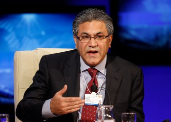 Arif Naqvi, founder and Group CEO, Abraaj Capital, and Co-Chair of the Governors Meeting for Investors 2010 attends a session at the World Economic Forum (WEF) in Davos January 27, 2010.    REUTERS/Arnd Wiegmann