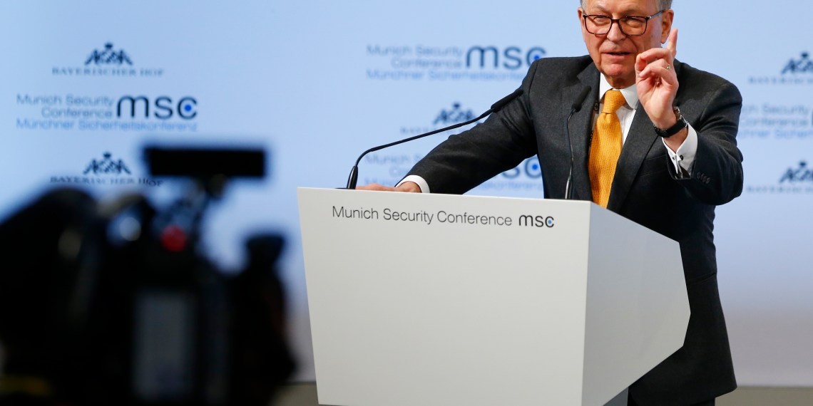 FILE PHOTO: Conference chairman Wolfgang Ischinger talks at the Munich Security Conference in Munich, Germany, February 16, 2018. REUTERS/Ralph Orlowski