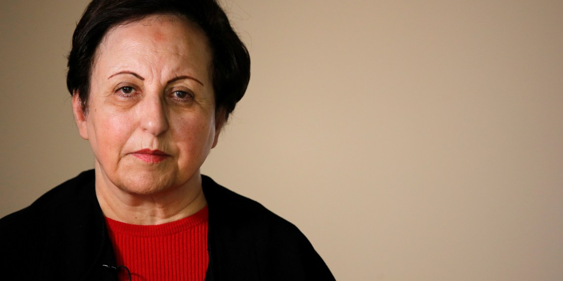Iranian Nobel Peace laureate Shirin Ebadi poses during a news conference on Iran at the Reporters without Borders (RSF) offices in Paris, France, February 7, 2019. REUTERS/Philippe Wojazer