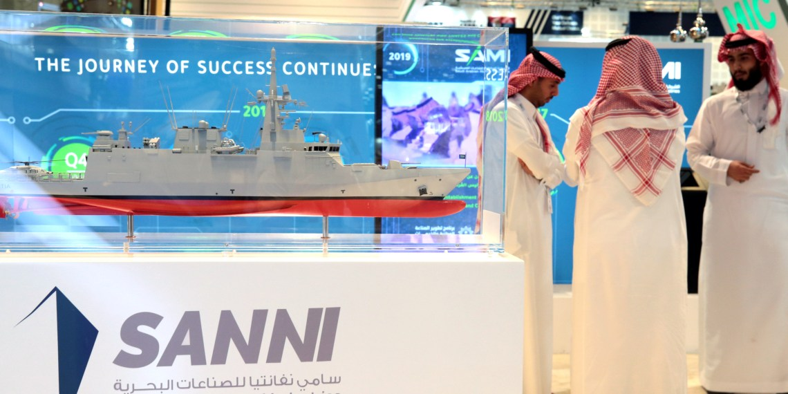 A general view of the Saudi Arabian Military Industries (SAMI) exhibit is seen during the International Defence Exhibition & Conference (IDEX) in Abu Dhabi, United Arab Emirates February 17, 2019. REUTERS/Christopher Pike