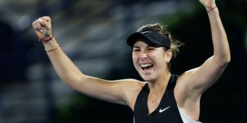 Tennis - WTA Premier 5 - Dubai Tennis Championships - Dubai Duty Free Tennis Stadium, Dubai, United Arab Emirates - February 22, 2019   Switzerland's Belinda Bencic celebrates winning the Semi Final against Ukraine's Elina Svitolina   REUTERS/Satish Kumar