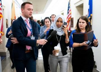 Representative Ilhan Omar, Democrat of Minnesota, center, on Capitol Hill on Tuesday. She has been criticized for remarks that were characterized as anti-Semitic.CreditCreditErin Schaff/The New York Times