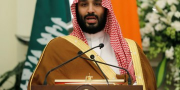 FILE PHOTO: Saudi Arabia's Crown Prince Mohammed bin Salman speaks during a meeting with Indian Prime Minister Narendra Modi at Hyderabad House in New Delhi, India, February 20, 2019. REUTERS/Adnan Abidi