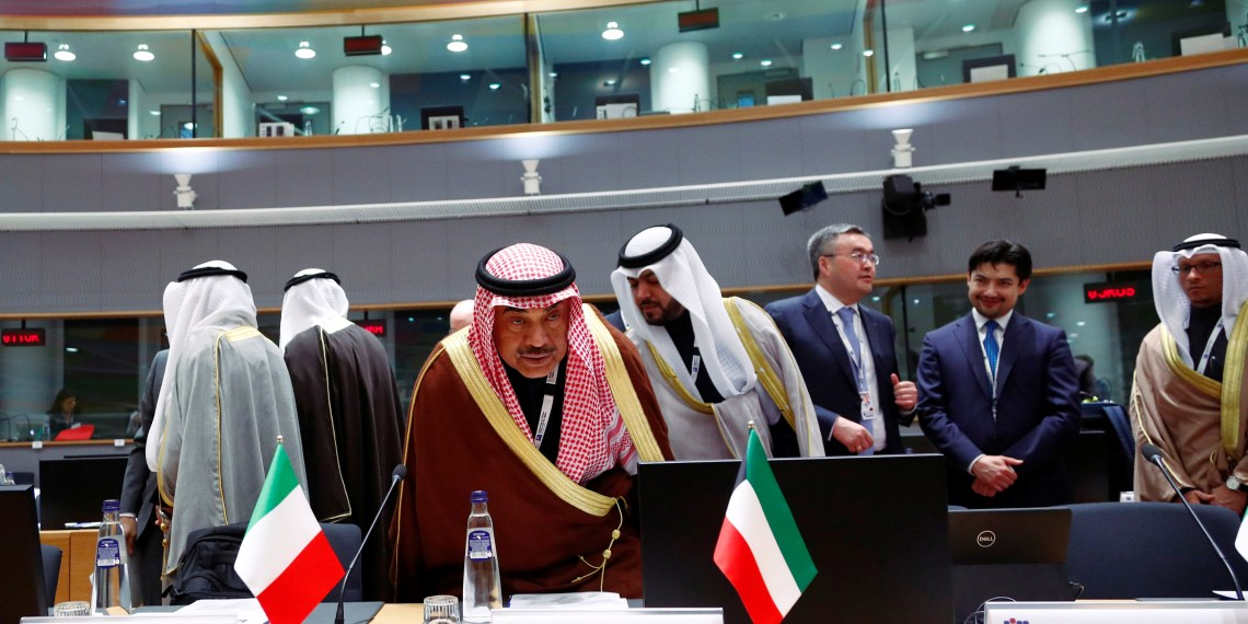 Kuwait's Foreign Minister Sabah Al-Khalid Al-Sabah attends an international peace and donor conference for Syria, at the European Union Council in Brussels, Belgium March 14, 2019.  REUTERS/Francois Lenoir