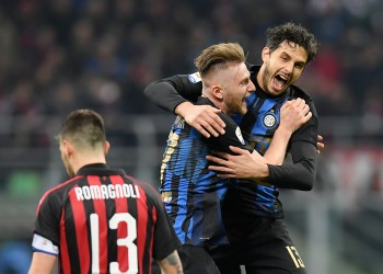 Soccer Football - Serie A - AC Milan v Inter Milan - San Siro, Milan, Italy - March 17, 2019   Inter Milan's Milan Skriniar and Andrea Ranocchia celebrate at the end of the match    REUTERS/Daniele Mascolo