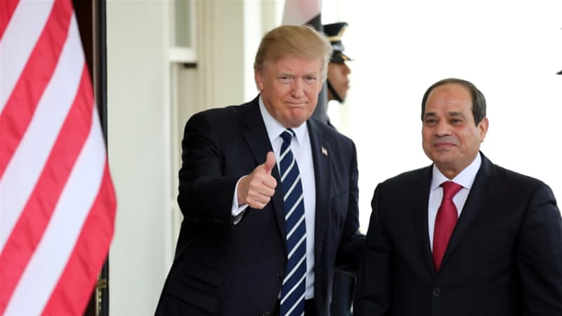 US President Donald Trump welcomes Egypt's President Abdel Fattah el-Sisi at the White House in Washington in April 2017 [File: Carlos Barria/Reuters]