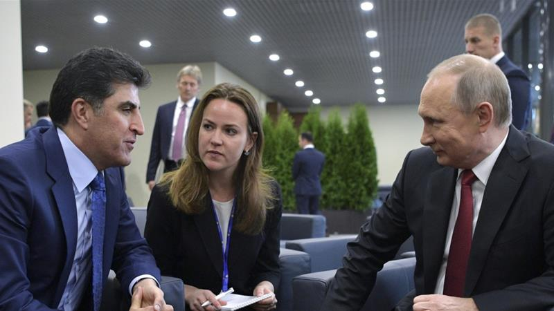 Russia's President Vladimir Putin meets with and Iraq's Kurdistan Prime Minister Nechirvan Barzani on the sidelines of the St Petersburg International Economic Forum on June 2, 2017 [File: Reuters]