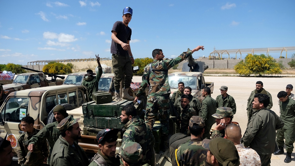 Libyan National Army (LNA) members, commanded by Haftar, head out of Benghazi to reinforce the troops advancing to Tripoli [Esam Omran Al-Fetori/Reuters]