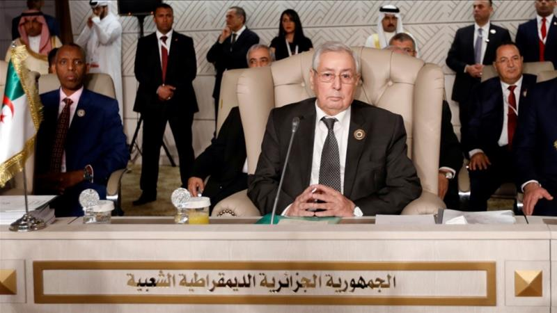 Abdelkader Bensalah, 77, is the current speaker of the upper house of parliament [Zoubeir Souissi/Reuters]