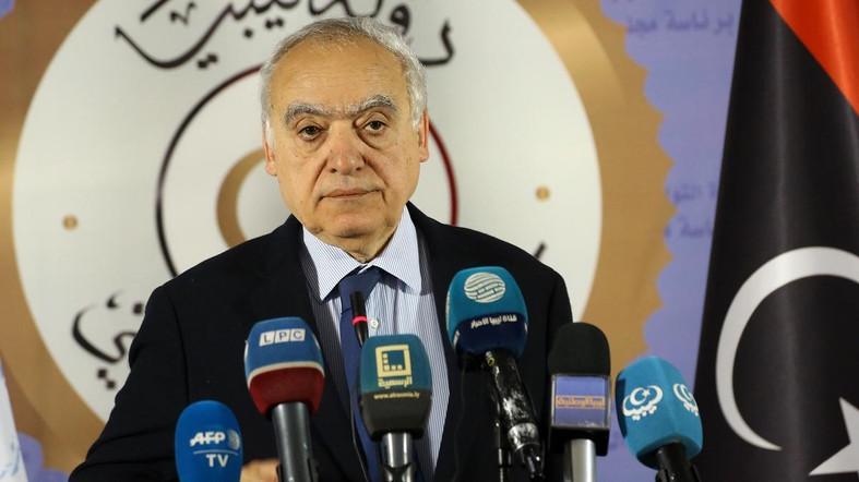 Ghassan Salame, UN special envoy for Libya and head of the UN Support Mission in Libya (UNSMIL) speaks during a press conference in the Libyan capital Tripoli on April 6, 2019. (AFP)
