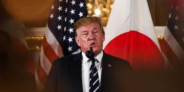 US President Donald Trump speaks during a meeting with business leaders in Tokyo on May 25, 2019. (Reuters)