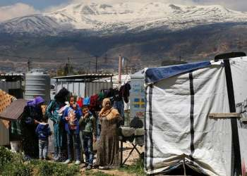 Syrian refugees in the Bekaa valley town of Saadnayel, east Lebanon. (File photo: AP)