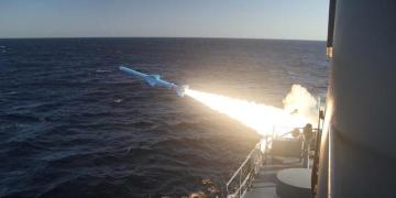 A handout photo made available by the Iranian Navy on February 23, 2019, shows a missile launch during a military drill in the Gulf of Oman. (AFP)