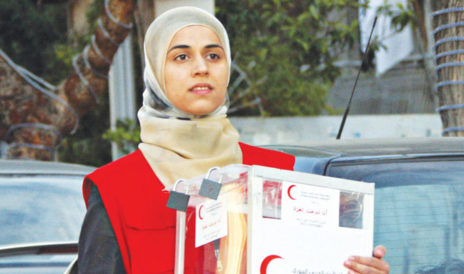 A Syrian Red Crescent worker in Damascus collects donations for Palestinians in the Gaza Strip on Jan. 4, 2009. (AFP)