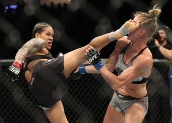 Amanda Nunes of Brazil knocks out Holly Holm of the United States during their UFC Womens Bantamweight Title bout at T-Mobile Arena on July 06, 2019 in Las Vegas, Nevada. (AFP)