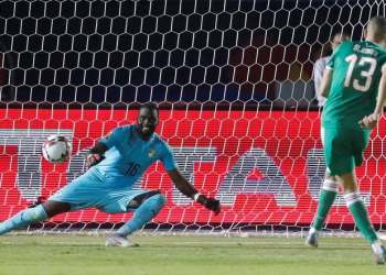 Algeria's Islam Slimani scores a penalty during the shootout against Ivory Coast in the Africa Cup of Nations 2019 Quarter Final, at the Suez Stadium, Suez, Egypt, on July 11, 2019. (Reuters)