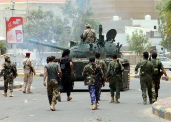 Southern separatists patrol a street during clashes with government forces in Aden, Yemen. Photo: EPA
