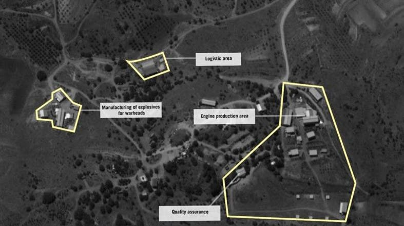 "A handout aerial image released by the Israeli army shows what it says is a site to manufacture ""precision-guided"" missiles. (AFP)"
